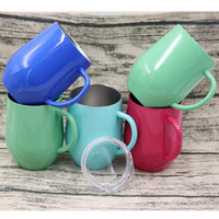 Wholesale thermo glasses for sale - Group buy 9oz Stainless Steel Egg Shaped Glass Coffee Cup Shell U shaped Insulation Egg Mug Cup with Handle Thermo Mug Colors OOA4294