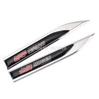 Wholesale Power Zinc - 2 x Car Styling 3D Body Fender Side Metal Chrome Zinc Alloy Knife Side Emblems Badges Car Accessories For Mugen Power