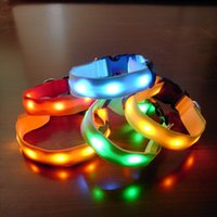Wholesale dog cooling collar for sale - Group buy Cool Nylon Glow Flashing Luminous LED strip bar flash light pet Necklace dog collar Safety Collars Christmas Gift DHL EMS