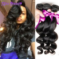 extensiones de cabello indio crudo al por mayor-Shesbeauty Loose Wave Indio Virgen del pelo 3 Bundles 8A Raw Indian Human Hair Bundles Extensiones de Cabello Loose Wave Weave Bundles Color Natural