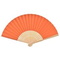 ingrosso costole di bambù-Design gratuito Logo personalizzato Bomboniere Regalo Ventaglio di carta fai-da-te Ventaglio per la mano della sposa con ventose in bambù