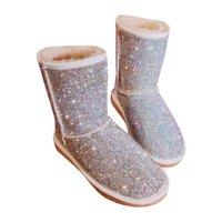 zapatos de invierno de punto al por mayor-EU43 Tamaño grande Cálido Invierno Botas Mujeres Rhinestones hechos a mano Botas de nieve Zapatos de piel Mujer 2018 Moda Bling Cristales a media pierna