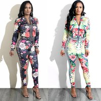 Wholesale long zip sweatshirt - Woman Tracksuit Bodycon Tight Floral Print Sport Track Joggers Suit outfits Sweatsuit Zipper Long Sleeved Tops Sweatshirt and Sweatpants