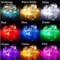akü askısı hafif bakır toptan satış-5 M 50 LEDs / 10 M 100 LEDs Pil Güç Dize Işık Bakır Tel Peri Işıklar Parti tatil dekoratif ampul lamba Aydınlatma
