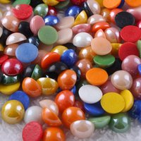 Wholesale mixed flat pearls - 100pcs set 6 8 10mm Mixed Colors Flat Back Ceramic Pearls DIY Phone Accessories Craft Suplies Jewelry Home Room Decor Arts and Crafts