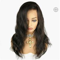 bakire brezilya afro peruk toptan satış-MHAZEL 20in doğal dalgalı ücretsiz bölüm brezilyalı bakire saç ön dantel peruk afro-amerikan kadın için