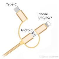 микро оплетки продажа оптовых-Горячие продажи 1 м 3 в 1 нейлон плетеный микро зарядки прочный тип C данных USB кабель для Android Iphone 5/5S/6S / 7