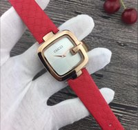 Wholesale leather watch red face resale online - Famous Brand Women watch Black Brown Red leather Lady Wristwatch Dress Watch Square Dial Face Gifts for Girls