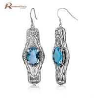 серебряные серьги синие камни оптовых- Design Vintage Handmade Jewelry Bohemia Ethnic Sky Blue Stone Fashion 925 Sterling Silver Crystal Big Earrings for Women