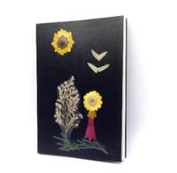 diario encuadernado en cuero vintage al por mayor-Bloc de notas de decoración de flores secas Bloc de notas de decoración decorativa de margarita