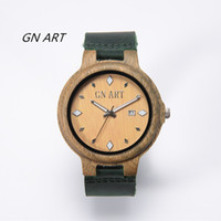 Wholesale Miyota Quartz - GNART Wood Mens Womens Watch Wooden With Leather Band Japanese Miyota 2115 Quartz Movement Round Dial Analog 2 Colors With Gift Box