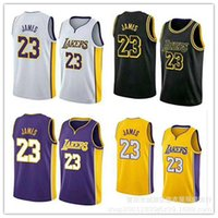 Wholesale lebron t shirts - Men 23 LeBron James Jersey t shirt for men Los Angeles 2018 NEW Lakers LeBron James the city Basketball t shirt Size S-XXL