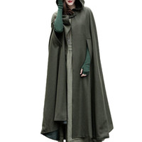 плащ-плащ оптовых-Women Oversized Hooded Long Coat 2018 Autumn Winter Button Open Front Cardigan Retro Irregular Poncho Cape Trench Overcoat Cloak