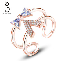 """Wholesale women stylish rings - Stylish Cubic Zirconia Silver Rings for Women Double Layers with """"V"""" Shape Bow knots CZ Crystal Full Paved Finger Ring Jewelry for Girls"""