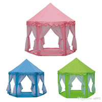 kapalı prenses çadırları toptan satış-Çocuk Altı Açıları Çadır Kapalı Ve Açık Havada Prenses Kale Hediye Çocuk Eğlence Gazlı Bez Oyun Evi Yüksek Kalite 56ly Ww