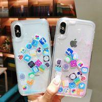 Wholesale iphone dynamic sand case for sale - Fashion Dynamic Flowing Lcon liquid Glitter Colorful Paillette Sand Quicksand soft TPU Case Cover Flow Sand Case