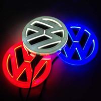 emblèmes led achat en gros de-Emblème de voiture 11cm * 11cm lumière pour VW Golf 6 tiguan bora CC scirocco Magotan Badge autocollant LED lumière 4D logo emblèmes lumière
