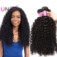 Wholesale unice hair online - UNice Hair Raw Virgin Indian Curly Wave Bundles Human Hair Extensions Remy Human Hair Weave Bundles Cheap Bulk