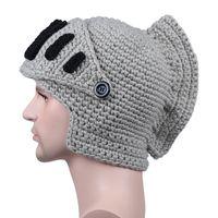 Wholesale mask heat online - Heat Sell Rome Knight Knitting Hats Winter Gladiatus Mask Hat Manual Knitting Male Hat