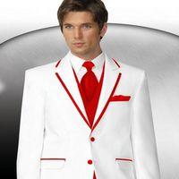 Wholesale Groomsmen Clothing White - Customize White Man Blazer Suit Groom Tuxedos Notch Lapel Groomsmen Men Wedding Holiday Clothing Suits (Jacket+Pants+Tie+Vest) NO:069