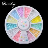 nail art perle aufkleber großhandel-12 Farben Nagel Strass Dekoration Werkzeuge Mix Größen Perle Nail Art Sticker Tipps Dekoration Rad Glitter Art Tools