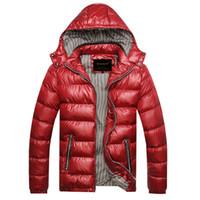 yastıklı rüzgarlık toptan satış-Sonbahar Kış Kapşonlu Ceket Erkekler Parka Kapitone Yastıklı Wadded Rüzgarlık Erkek Erkek Ceket Ve Ceket Parkas Palto M220