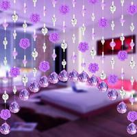 rosa azul de cristal al por mayor-Crystal Glass Rose Bead Cortina Tira de la cadena de la sala de estar Dormitorio Ventana Puerta Divisor Decoración de la boda Cenefa Decoración del hogar