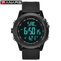 reloj de grandes buceadores al por mayor-PANARS Led Digital Watch Men Chronograph Mens Relojes Big Dial Clock Sport Swim Diver Reloj de pulsera reloj hombre 8015