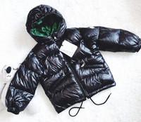 cremallera capucha niño al por mayor-2018 niños ligeros chaquetas de invierno Niños Pato Abajo Escudo Bebés niñas parka Abrigos Sudaderas con cremallera Escudo 110-160