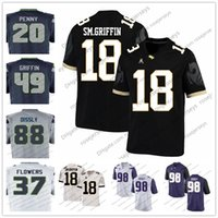 Wholesale Flower Shorts - UCF Knights #18 Shaquem Griffin 49 20 Rashaad Penny Will Dissly Tre Flowers Navy Blue Gray White 2018 Draft College Football Jerseys S-3XL