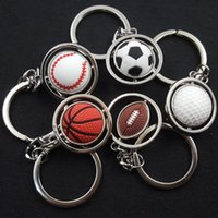 Wholesale tennis ball keychain - 3D Sports Keychain Rotating Basketball Soccer Tennis Ball Keyring Key Chain Ring Keyfob Key Holder AAA474