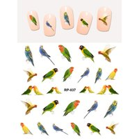 ingrosso bellezza d'acqua di rosa-NAIL ART BEAUTY WATER DECAL SLIDER ADESIVO NAIL BIRD PARROT POPINJAY WOODPECKER EAGLE SWALLOW FAGIANO SWAN RP037-042