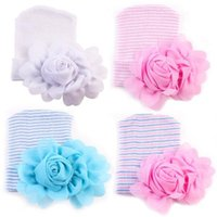 Wholesale baby girl bonnet flowers for sale - newborn hospital hat baby girls a big flower stripe hats cap winter toddler infant knitted beanie crochet bonnets
