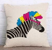 Wholesale zebra home decor - wholesale linen Cushion Covers The zebra pattern Home Decor Sofa Decor Decorative Pillowcase Square Shape pillows Chair cushions