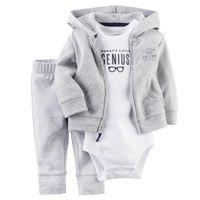 leggings de verão de algodão venda por atacado-2017 Mais Recente Casual Recém-nascido 6 9 12 18 Meses Cardigan Calças Definir Roupas de Bebê Menino Roupa Cinza Bodysuit Baby Boy roupas