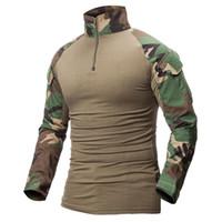 kamuflaj askeri gömlek toptan satış-Multicam Üniforma Askeri Uzun Kollu T Gömlek Erkekler Kamuflaj Ordu Savaş Gömlek Airsoft Paintball Giysi Taktik Gömlek