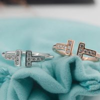 кольца из чистого серебра оптовых- jewelry S925 sterling silver rings for women open double T diamond rings hot fashion free of shipping