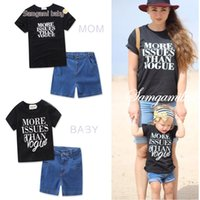 Wholesale mo pants - Ins New Arrivals Family look like t shirt + Jeans pants short Sleeve Design Print Clothes boy causal summer 100% cotton t shirt Free Ship