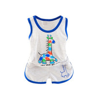 мальчики летние жилеты топы оптовых-New Kids Baby Boys Girls Clothes Sets 2018 Summer Vest Tops T-shirt + Shorts Pants 2pcs Cotton Casual Suits A5