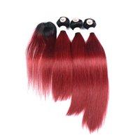 bordo saç örgüleri toptan satış-Yeni Varış Ombre İnsan Saç Dokuma 3 Demetleri Ile Üst Dantel Kapatma saç Girdap Düz 1B / Bordo Işık Kırmızı Ombre Saç Uzantıları 190-235g
