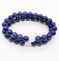 jade branco pedra preciosa venda por atacado-8mm Lapis Lazuli Pulseira, Gemstone Pulseira, Branco Jade Beads, Elastic Pulseira, Boa Sorte Pulseira