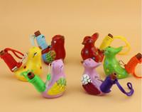 kuşlar el yapımı toptan satış-240 adet / grup Vintage Stil El Yapımı Seramik Su Kuş Düdük Kil Şarkı Cıvıltı Kuşlar Noel Partisi Hediye Ücretsiz Kargo
