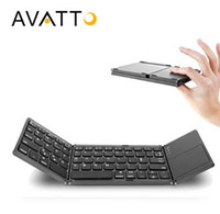 Wholesale ipad keypads - Protable A18 Bluetooth Folding Keyboard Twice Foldable BT Wireless Touchpad Keypad For IOS Android Windows ipad Tablet