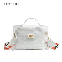 Wholesale clear transparent handbags totes - LEFTSIDE Summer Beach Letter Transparent Bag Women Clear Orange Tote Bags Women Plastic Bag PVC Handbags With Colors Straps