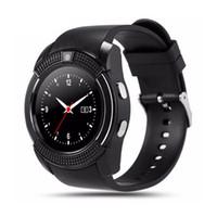v8 uhr kamera großhandel-V8 Bluetooth Smart Uhr Smartwatch Telefon-Uhr-Anruf SIM TF Kamera-Uhr für IOS Android Round Watch