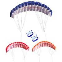 Wholesale kite big - Outdoor Fun Double Line Kite Rainbow 30m Two Lines Controled Sports Beach Kite with Handle 3 COlors
