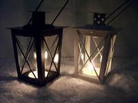 Wholesale Lantern Tea Light Holders Wholesale - Classic style Tea Light Holder Metal candle holder Small Iron lantern White Black Color candlestick holders gift Wedding decoration
