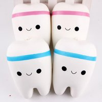 Wholesale baby phones - Wholesale 10.5cm Novelty Jumbo Squishy Tooth Slow Rising Kawaii Soft Squishies Squeeze Cute Cell Phone Strap Toys Kids Baby Gift