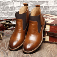 Wholesale vintage mens boots - New Arrival Fashion Mens Leather Chelsea Boots Casual Flats Brand Men's Ankle Martin Boot Vintage Shoes T50