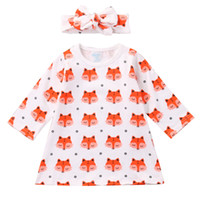 Wholesale long cotton beach skirts - Girls Fox Dresses Hairband Long Sleeve 95% Cotton Blends Baby Girls Dresses Pink Fox Cartoon Printed Skirt Breathable Summer Outfit 3-24M
